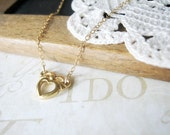 TIED to my heart with a bow petite heart with bow necklace (gold) LAST ONE