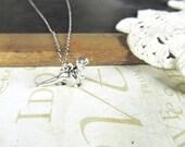 REX tiny dinosaur charm necklace (silver)