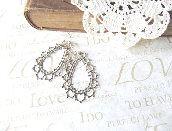 LACEY lightweight open filigree chandelier earrings (silver)