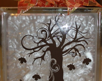 Fall DIY decal for glass block