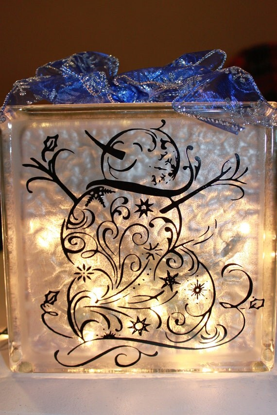Items Similar To Snowman Glass Block With Vinyl And Lights