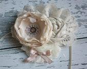 Creme de la Creme-  singed satin flower, rosette & chiffon flower headband
