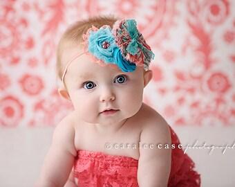 Coral Kisses- rosette, chiffon flower & ruffle headband