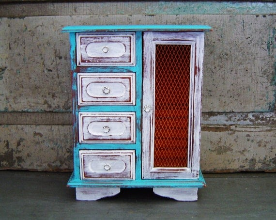 Jewelry Box Music Box Turquoise Distressed Wooden Vintage