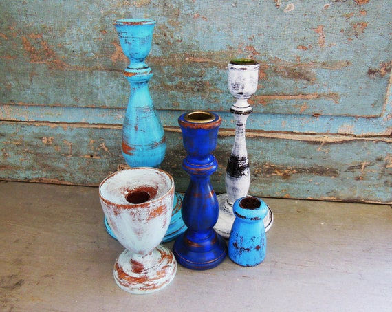 Wooden Candlestick Candle Holder Painted Seaside Shore Collection