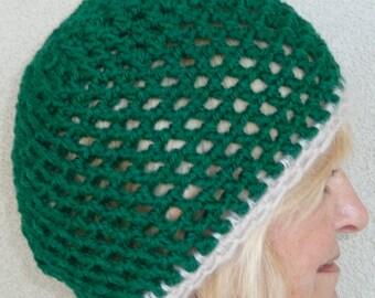 Winter Accessories women's fashion green white skullcap crochet hat