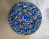 Edwardian Blue Rhinestone Brooch