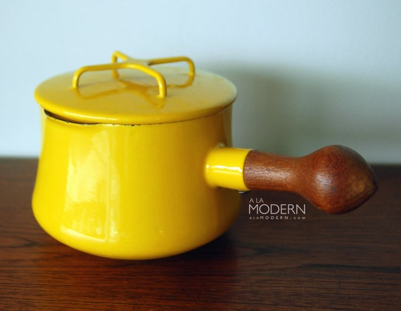 Dansk Kobenstyle Yellow Enamel Sauce Pot With Lid