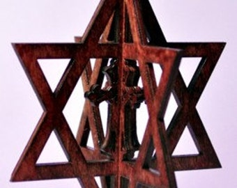 3-D Star of David with Cross Wood Ornament