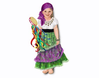 Gypsy costume. Single outfit for magnetic dolls.