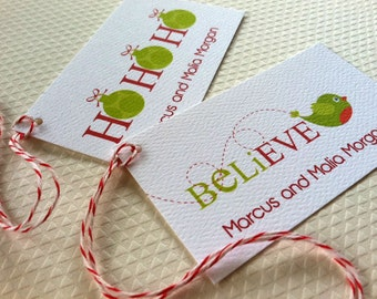 Christmas Gift Tags Personalized, Holiday Tags, Custom Christmas Tags, Set of 20