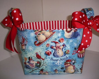 Christmas Snowman / Snow Angel Fabric Gift Basket / Organizer Bin