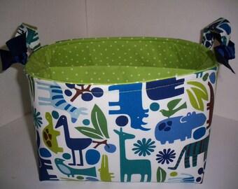 Large Diaper Caddy / Organizer Bin / Alexander Henry 2 d Zoo Fabric