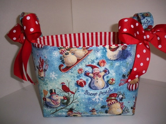 Christmas Snowman / Snow Angel Fabric Gift Basket / Organizer Bin