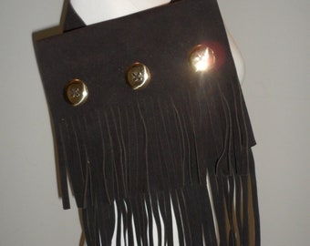 great find fringed  suede felted  metel circles 60s 70s handbag with tags on it   new  paper still in it