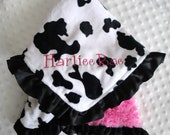 Personalized Ruffled Cow Print and Cuddle Rose Minky Blanket 18 x 22 Lovey Size