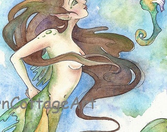 "mermaid art....""Scylla""..8x10 print"