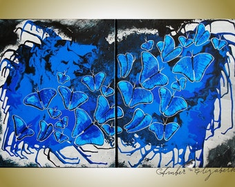 40% Off Large ORIGINAL Painting Blue Morpho Crescendo 32 x 20 Acrylic Canvas Surreal Art Amber Elizabeth Lamoreaux Butterflies Butterfly