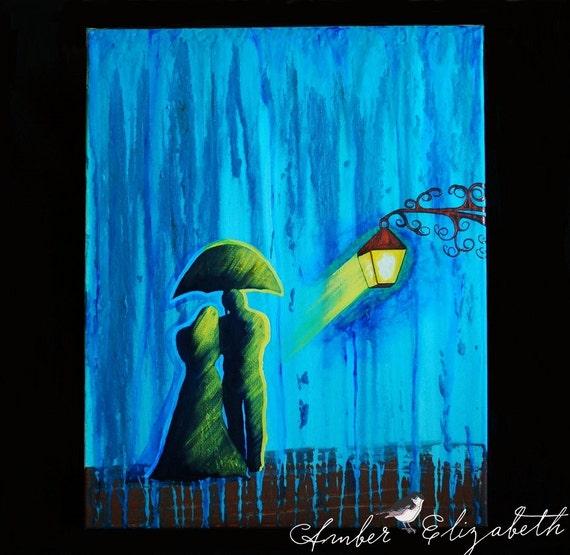 Original Painting 16 x 20 Aglow in the Rain Acrylic on Canvas Art Amber Elizabeth Graff Hummingbirds Birds Love Branches Rainy Raining