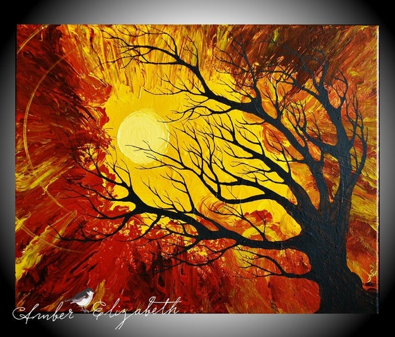 Original Painting 16 x 20 The Radiant Warmth Acrylic on Canvas Art Amber Elizabeth Graff Tree Silhouette Gold Brown Sun Sunshine Radiate