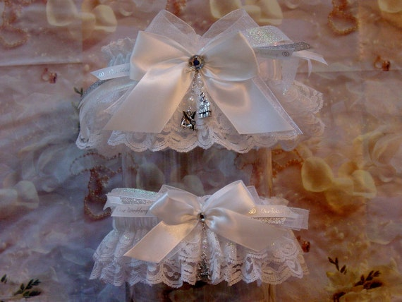 Disney Tinkerbell White Wedding Garter Set