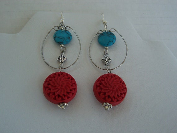Red Dangle Cinnabar Earrings Silver Tone Wire Hoop Turquoise Howlite Pewter Beads Holiday Oriental Asian Modern Fashionable Style Mom Gift