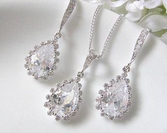 Cubic Zirconia Teardrop With Small Crystal Stones Bridal Earrings And Necklace Set - Bridal Jewelry Set, Bridesmaid Jewelry Set, Wedding Set