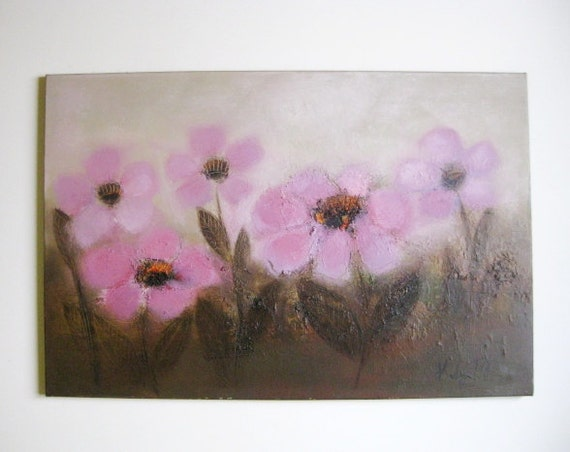 "36""x24"" HOT  Pink Flowers,  Original oil on canvas, large oil painitng for kids room, children rooms decor"