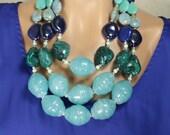 Huge Chunky Bright Blue Multistrand Bib Collar Statement Necklace, Bold, Multicolor, Blue Daze