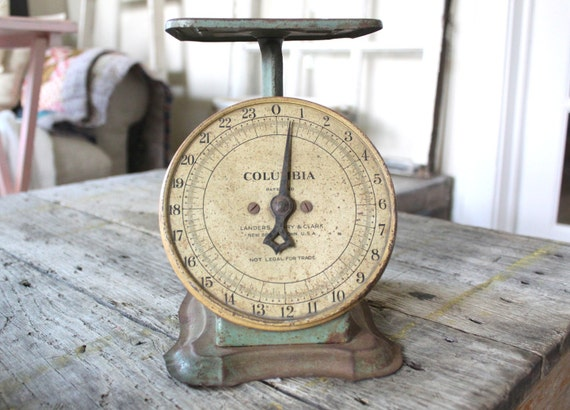 Vintage Farmhouse Scale Faded Green Columbia Scale Home