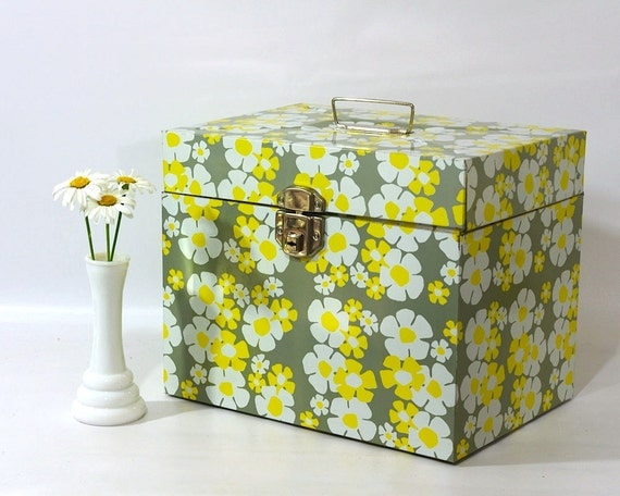 Retro Industrial Metal File Box with Mod Flower Daisy Design