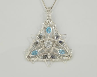 Faceted White and Swiss Blue Topaz Sterling Argentium Silver Wire Wrap Pendant
