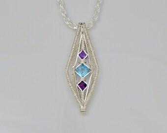 Swiss Blue Topaz and Amethyst Diamond's Eye Argentium Sterling Silver Wire Wrap Pendant