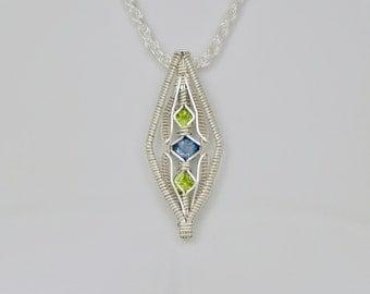 London Blue Topaz and Peridot Diamond's Eye Argentium Sterling Silver Wire Wrap Pendant