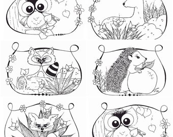Woodland coloring pages 6 pc, pdf file
