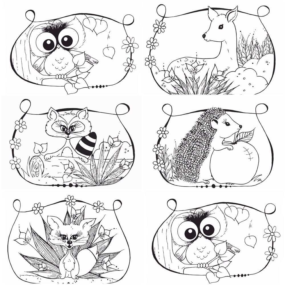 Woodland Coloring Pages 6 Pc Pdf File