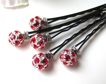 Red Rhinestone Hair Pins Set, Czech Crystal Christmas Wedding Bobby Pins