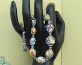 Italian Wedding Cake Glass Bead Necklace / Venetian Fiorato Lampwork Beads /  Multi Colored Glass /  Murano / VJSE Group T
