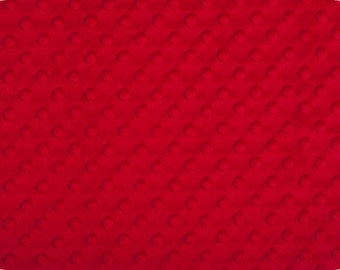 Red Cuddle Dimple/ Dot Minky (Minkee), Cuddle Dimple by Shannon Fabrics, 1 yard