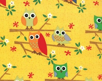 Yellow Owl Print from the Ten Little Things Collection, by Moda, 1 yard