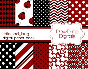 SALE Ladybug Digital Paper Pack Scrapbooking INSTANT DOWNLOAD Red Black White Scrapbook Papers Kit Lady bug ladybugs