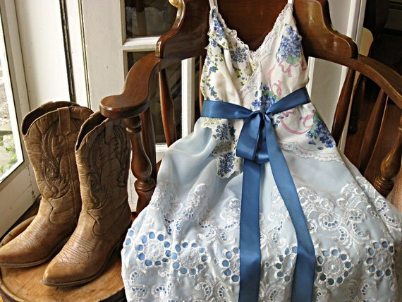 RESERVED FOR ALISON - Vintage hankie slip dress, Prairie Flower, blue floral, romantic, rustic, country, 40 inch bust, large, L