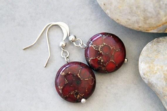 A Drop of Shiraz  - Gemstone and Pyrite Earrings