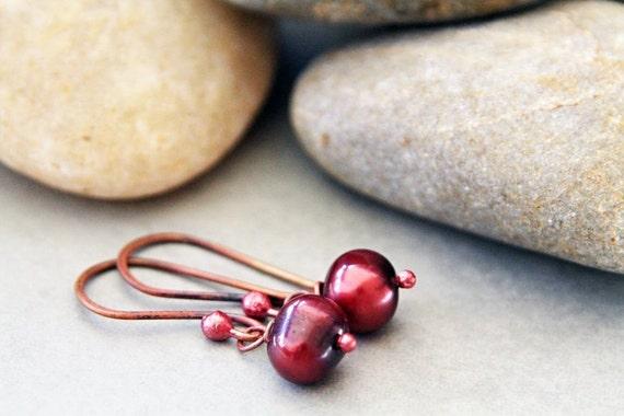 Rustic Reds - Garnet Pearl Earrings