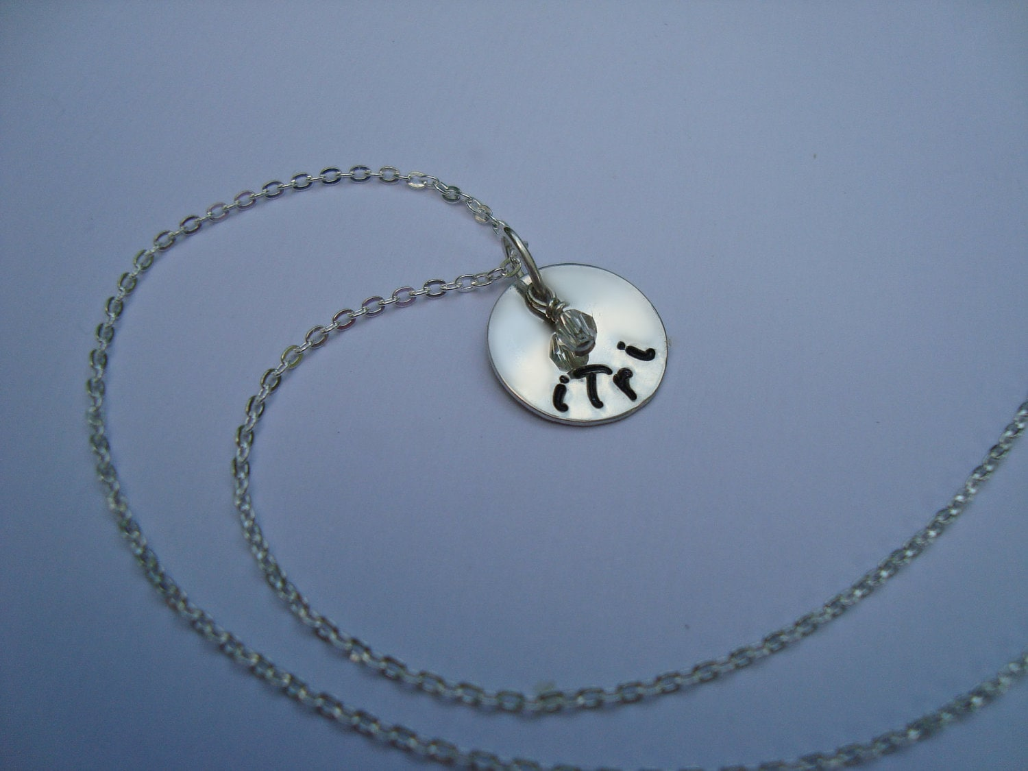 iTri Hand Stamped Sterling Silver Necklace with Crystal