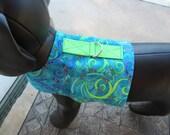 Blue and Green swirls pet harness, vest, collar, jacket