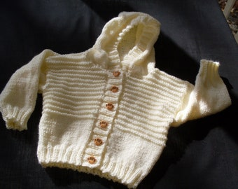 Hand knit boy or girl off white hoodie cardigan with monkey buttons