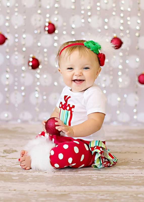 SHORT SLEEVE Christmas white red and green striped and polka dot present bodysuit ruffle bloomers diaper cover w/matching shabby chiffon