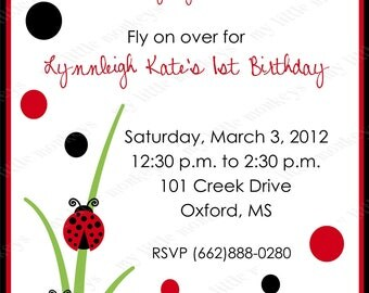 10 Lady Bug Birthday Invitations with Envelopes.  Free Return Address Labels