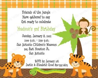 10 Jungle Birthday Invitations with Envelopes.  Free Return Address Labels